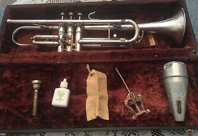 Vintage Silver Plated Trumpet Windsor Elkhart Ind. Case Mute Bach Mouthpiece