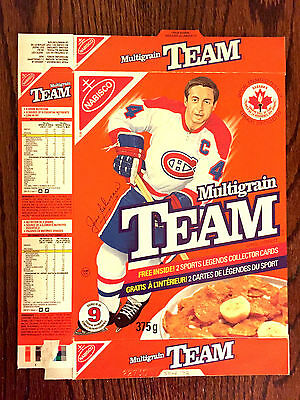 Jean Beliveau Hockey Nabisco Team Cereal Box NHL Stanley Cup Montreal Canadians