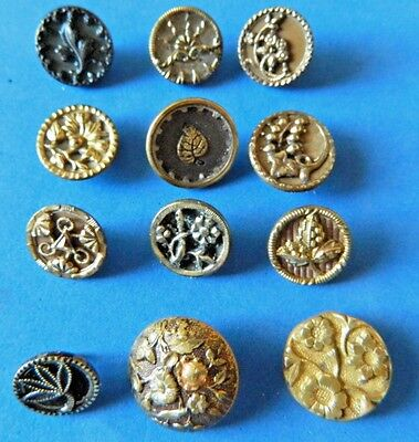 Lot  Small VICTORIAN Antique METAL Buttons w/ FLOWER Floral Designs antique Vtg