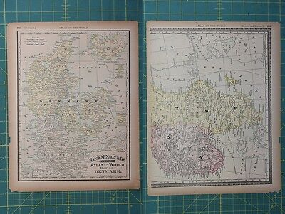 Denmark Vintage Original 1894 Rand McNally World Atlas Map Lot