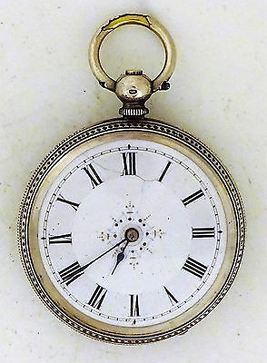 Antique Silver Key Wound Pocket Watch - Great Engraved Case