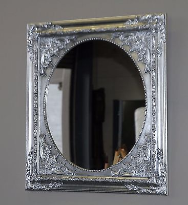 Beautiful Ornate French Baroque Style Silver Wall Mirror