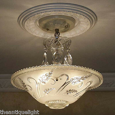 595 Vintage 40's Ceiling Light Lamp Fixture Glass Chandelier Re-Wired white