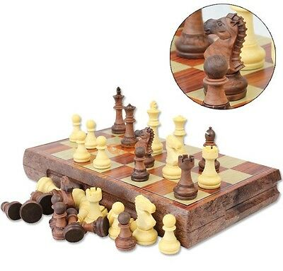Folding Wooden Chess Set Board Game Checkers Backgammon Draughts