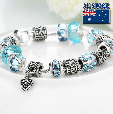 20cm Sterling Silver Plated Clasp Blue Love Bracelet, Antique DIY Style Gift