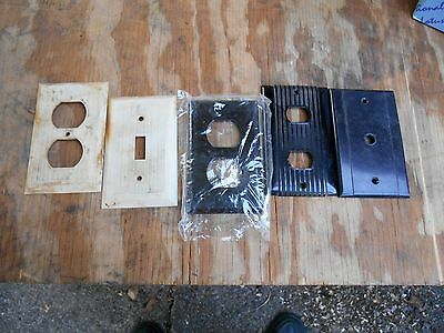 5 UNILINE  Ribbed Light Switch Plate Covers Vintage Bakelite USA