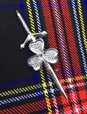 Scottish Kilt Pin Irish Shamrook Chrome Finish/Highland Kilt Pin/kilt Pins/pins