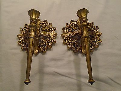 Pair of Wall Sconces Gold Tone