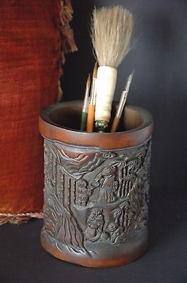 Old Chinese Bamboo Bitong / Scholar Brush Pot …beautifully hand carved