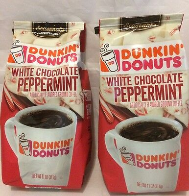 Dunkin Donuts White Chocolate Peppermint Ground Coffee 2 Bags 11 ounces 311 g