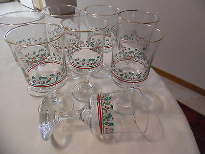 8 Vintage 1985 Arby's Libbey Holly Berry Christmas Goblets With Gold Rims