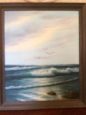 Vintage Oil Painting of the Ocean, Signed by Artist, Beautiful Wood Frame
