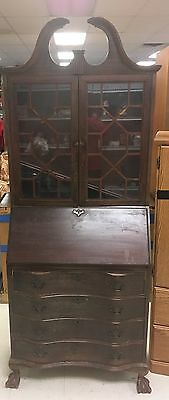 Vintage Antique Mahogany slant secretary desk cabinet claw foot chippendale styl