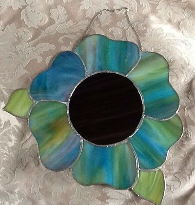 Flower Stained Glass Suncatcher Hanging Chain Purple Blue Hand Crafted Beautiful