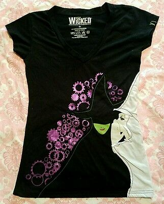Vintage Wicked Shirt Elphaba Glinda Oz Musical Embroidered Cogs Gears