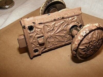 Victorian Floral Embossed Door Knob Set w/Original Lock Crusty Paint