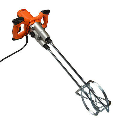 110V 1600W Electric Cement Concrete Mortar Hand Held Mixer Double Paddle 6 Speed