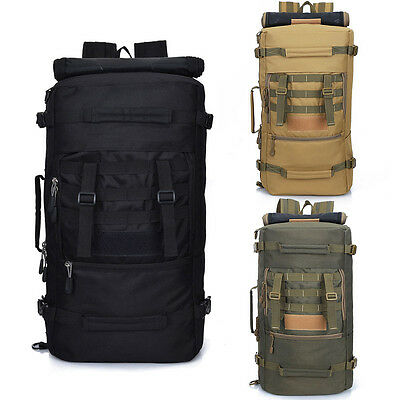 50L Outdoor Tactical Molle Military Rucksacks Backpack Travel Camping Bag Large#