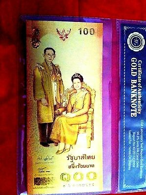 THAILAND 24kt  GOLD BANKNOTE 100 THAI BAHT COLOURED GOLD BANK NOVELTY NOTE 3D