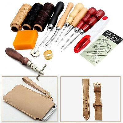14Pcs Leather Craft Hand Stitching Sewing Tool Thread Awl Waxed Thimble Kit #