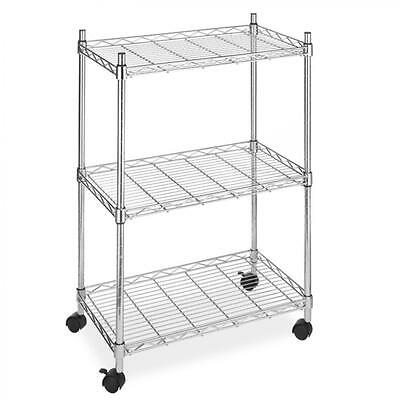New Chrome Wire Shelving Cart Unit 3 Shelves w/Casters Shelf Rack Wheels 883