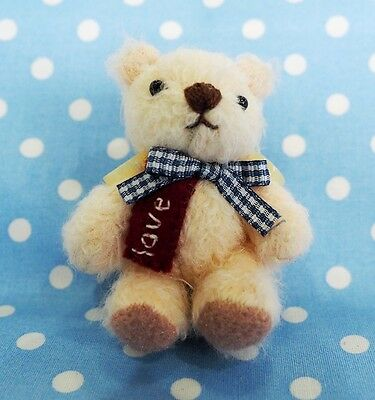 Handmade Miniature Jointed Stuffed Bear With Embroidered Letters Ball Key Chain