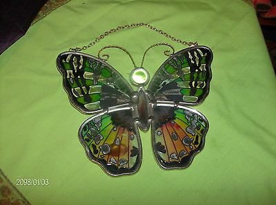 Amia of Denver Lovely Handpainted Stained Glass Butterfly Suncatcher
