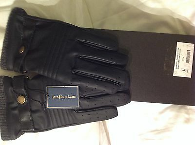 Polo Ralph Lauren Leather Black Gloves. New in Box.