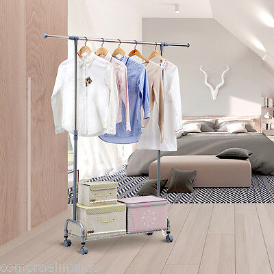 Rolling Garment Rack Clothes Hanging Closet Organizer Storage Expandable Wheel