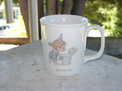 1984 Precious Moments THIS IS THE DAY Birthday Cup Mug