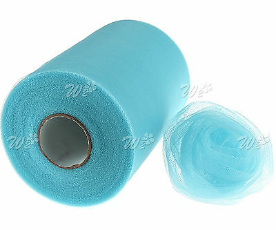"6""x Blue 100yd Tulle Roll Spool Wrapping Decoration For Craft Wedding Party"