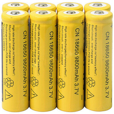8x 3.7V 18650 9800mAh Li-ion Rechargeable Battery For Flashlight Torch #