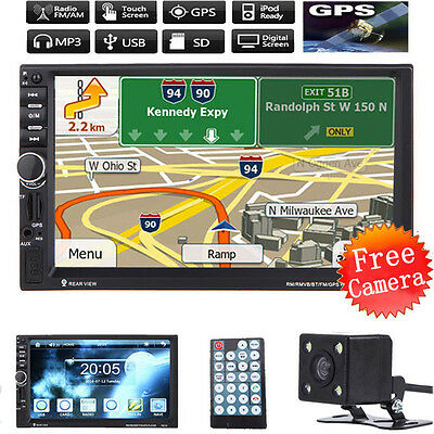 "7"" Double 2Din In Dash Car MP3 MP5 Radio Player GPS Navi Touch Bluetooth #Camera"