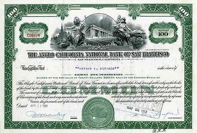 1951 Anglo California National Bank Stock Certificate