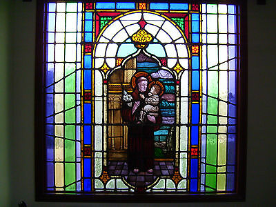 Large Piece Antique Stained Glass Window