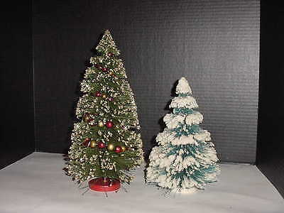 Two Vintage Bottle Brush Christmas Trees  Green Garland & Turquoise Blue Flocked