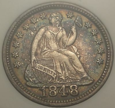 ANACS MS61 1848 Seated Liberty Half Dime Large Date Variety Colorful Toning H10c