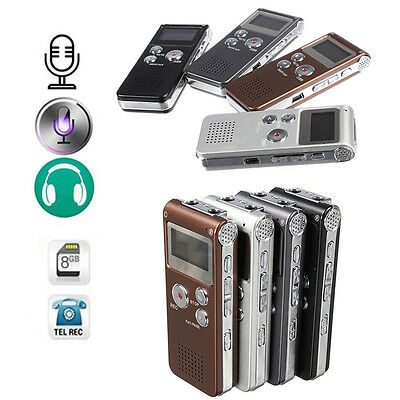Rechargeable 8GB 650Hr Digital Audio/Sound/Voice Recorder Dictaphone MP3 Player#