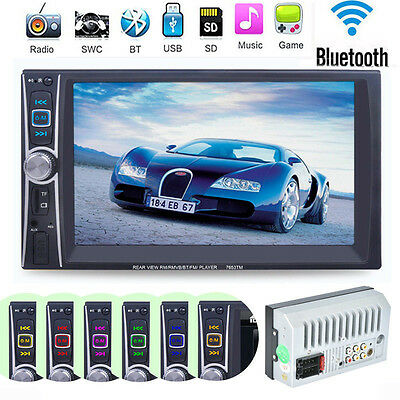 "Double 2 Din 7"" Touchscreen In Dash Bluetooth Stereo Car CD DVD MP3 Radio#Player"