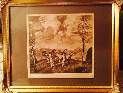 Franz von Stuck DANCE OF THE WINDS 1919 SEPIA PRINT with Frame