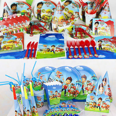 18 Style Paw Patrol Party Tableware Birthday Decorations Supplies Plates Cups