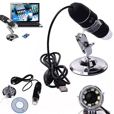 2MP 1000X 8 LED USB Digital Microscope Endoscope Zoom Camera Magnifier + Stand #