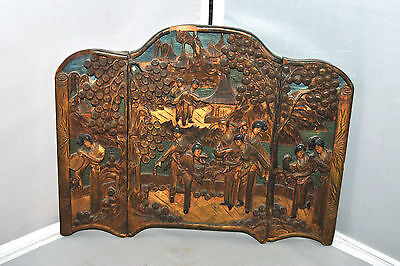 "BEAUTIFUL Antique Chinese Carved Wood Tryptych Panels High Relief  ""As Is"""