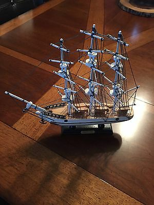 wooden wood ship large scale display model sail boat CONSTITUTION Sailboat EUC