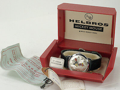 Vintage 1970's Helbros 17 jewels MICKEY MOUSE Watch MINT in box