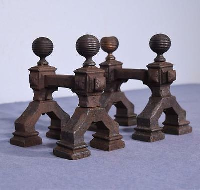 *Petite Antique Iron Andirons/Fireplace Chenet Rustic