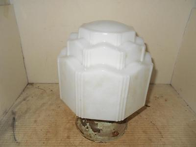 Vintage Milk Glass Shade 1930 Art Deco Ceiling Light Fixture Skyscraper Globe (A