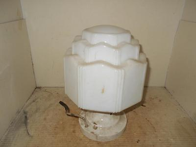 Vintage Milk Glass Shade 1930 Art Deco Ceiling Light Fixture Skyscraper Globe (B