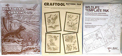 Vintage Leather Work Craft Carving Book Pattern Stencils Lot of 3