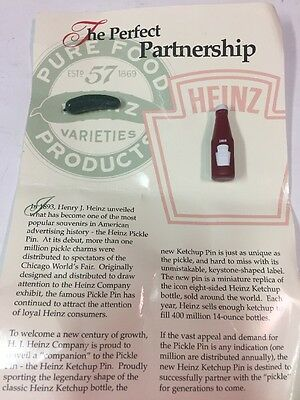 Heinz 57 The Perfect Partnership Pickle and Ketchup Bottle Pins On Card